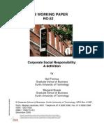 GSB Working Paper No. 62 Corp Social Resp a Definition Thomas Nowak