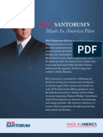 Made in America Plan - Rick Santorum 2012 Presidential Campaign Official Document