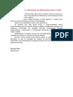 António Pinto Reflexão sobre a Disciplina de Matemática para a Vida-1 - Cópiax