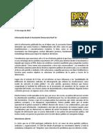 Asociación DRY - Nota de prensa del 17 de mayo de 2012 - Respecto a la información a la información publlicada en el diario el País