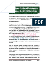 American National Insurance Company Q1 2012 Earnings