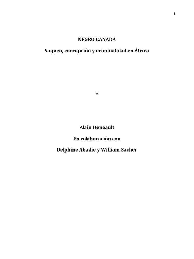 Negro Canada Saqueo Corrupcion y Criminalidad en Africa