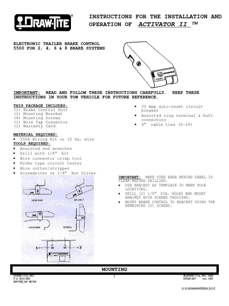 Draw Tite Brake Manual Trailer Vehicle Electrical Connector Wiring Types