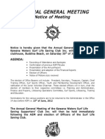 Kawana Surf Club | Notice of AGM 2012