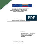 PAPEL DE TRABAJO / PLAN DE GESTION DEL INVESTIGADOR