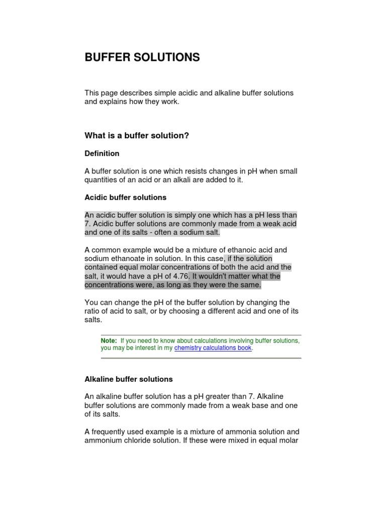 buffer solutions | buffer solution | ph
