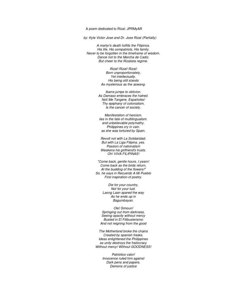 A Poem Dedicated to Rizal | Philippines