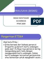 ETIKA BERWIRAUSAHA (BISNIS)