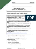 Resumen prensa CEU-UCH 18-05-2012