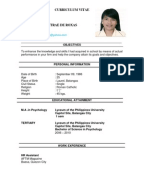 on ojt resume format sample student