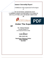 Finance Understanding Investment Pattern in Mutual Funds and Advisory Services Final