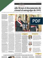 El ministro Calle firmó el documento de apoyo institucional al autogolpe  de 1992