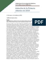 Cabildo de Buenos Aires. Acta de instalación de la Primera Junta de Gobierno. 1810
