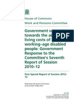 Government support towards the additional living costs of working–age disabled people