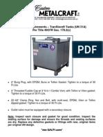 Closure Requirements TranStore Tanks (UN 31A)