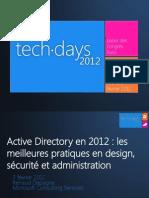 active directory en 2012 les meilleures pratiques en design sécurité et administration