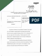 Sb 1338 120517 Order - Writ Denied for Life Legal Defense Foundation