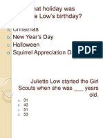 On what holiday was Juliette Low's birthday