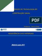 AULA DE RESISTÊNCIA DO MATERIAIS - Matéria AV1