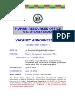 Vacancy Announcement- Proj Mgt Spec (PHNE) FSN-11, Apr 2012
