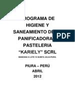 PROGRAMA DE HIGIENE Y SANEAMIENTO DE LA PANADERÍA Y PASTELERIA