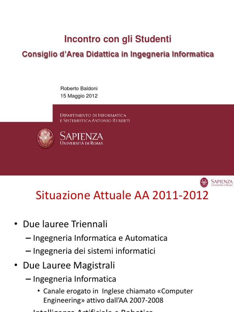 Calendario Didattico Sapienza Ingegneria.Incontro Studenti 15 Maggio