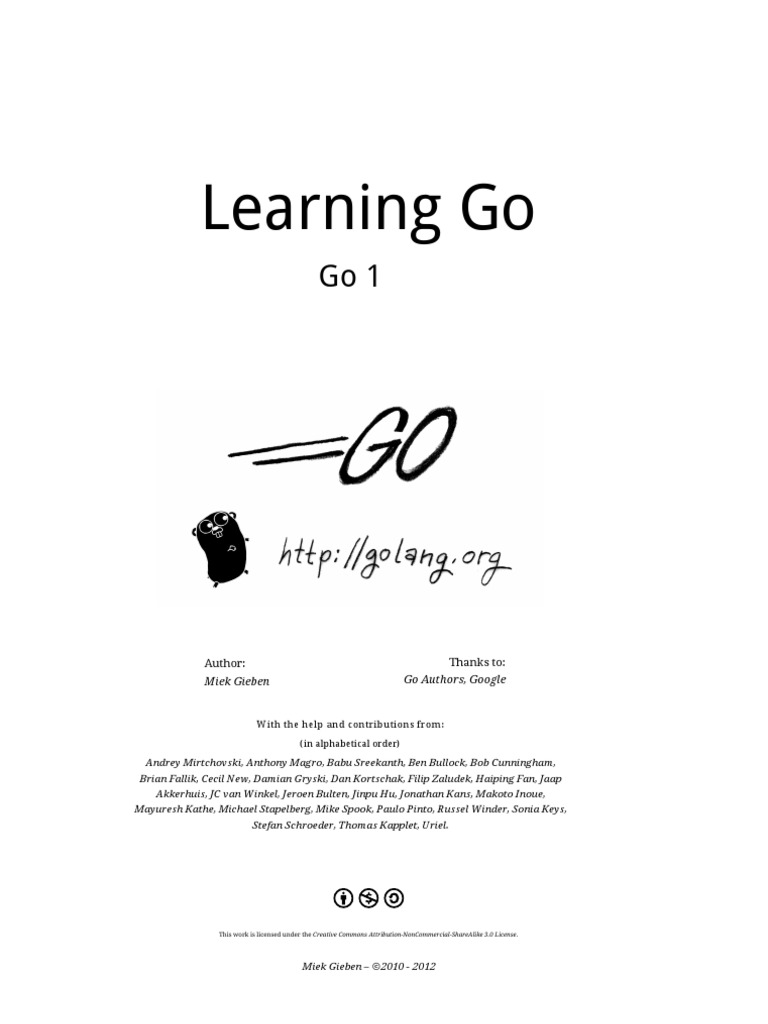 Learning Go: Author: Thanks to