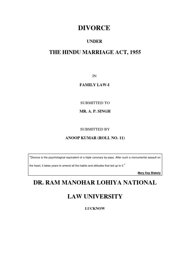 Divorce under hindu marriage act