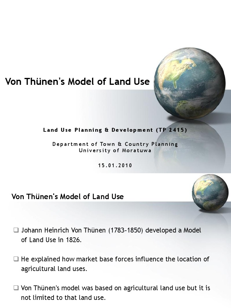von thunen agricultural land use model