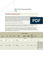 Diesel and Electric Locomotive Specifications