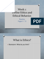 Week 1 Defining Ethical Behaviour