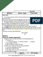 examen blanc n°01 du 3e trimestre 4AM anglais