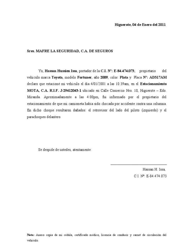 MODELO Carta Notificacion de Accidente SEGURO