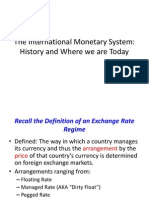 The International Monetary System History and Where We Are Today