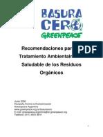 Recomendaciones para un tratamiento ambientalmete saludable de los residuos orgánicos