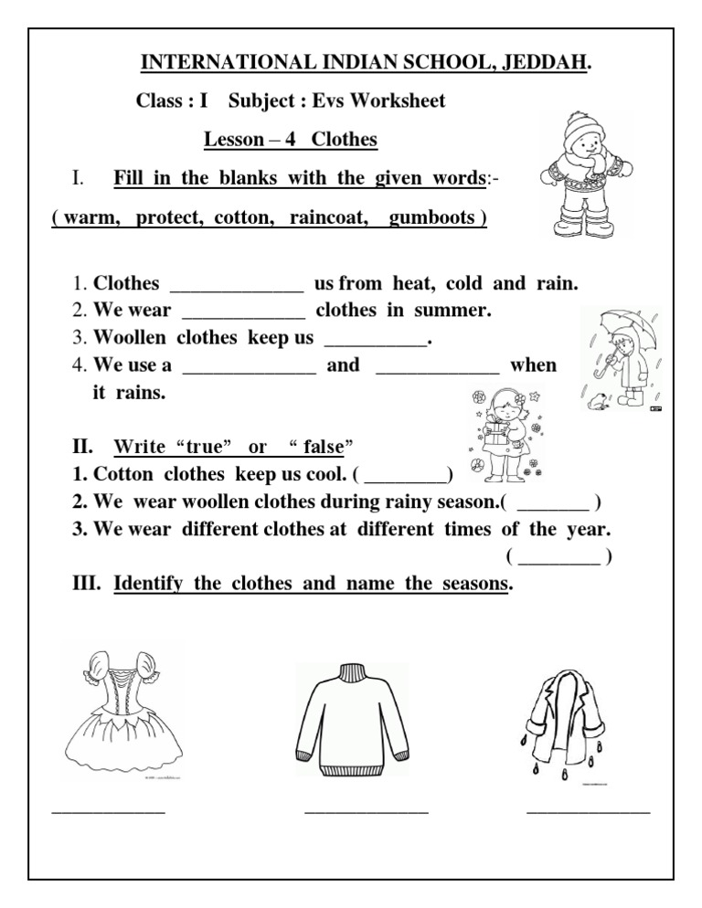 EVS Worksheet Class I Lesson 4 Clothes – Class Worksheets