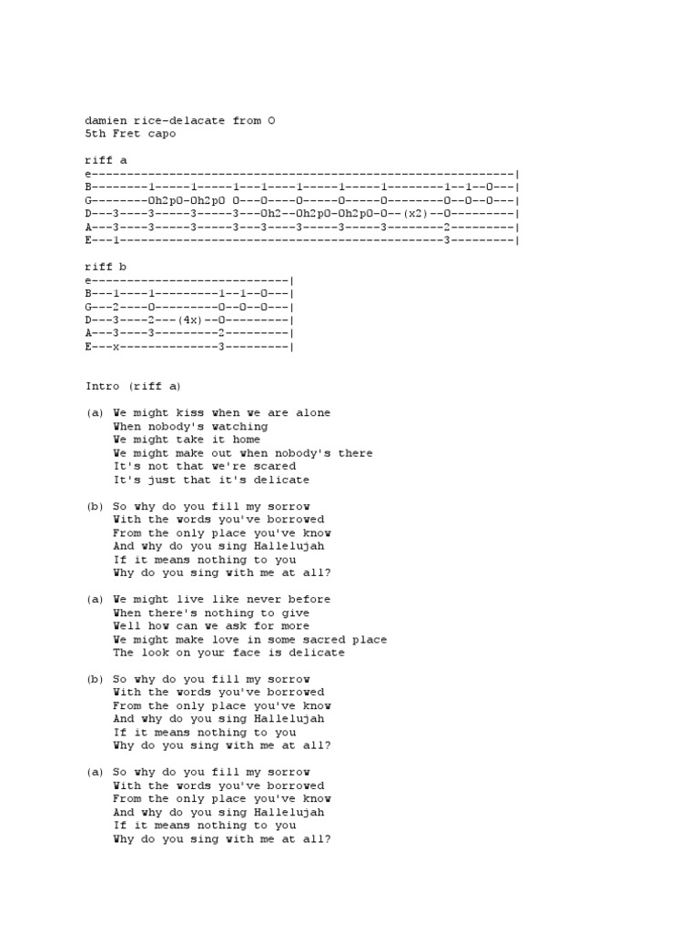 Damien Rice Delicate Tab & Chords   Song Structure   Songs