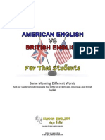 American English vs British English - Same Meaning Different Words
