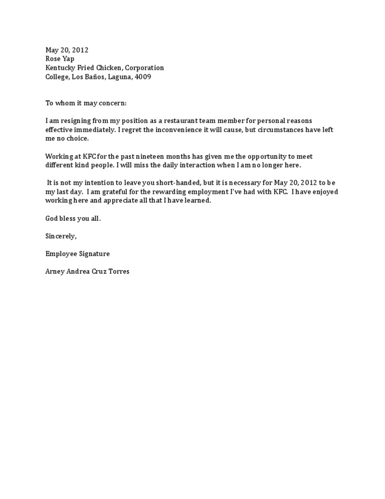 resignation letter reason for leaving