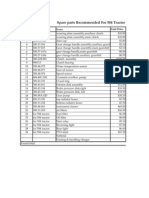ut-504 recommended spare parts list in usd