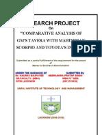 Comparative Analysis of Gm s Tavera With Mahindra s Scorpio and Toyota s Innova