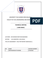 University Tun Hussein Onn Malaysia Field Trip Report