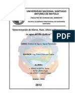 Laboratorio N° 05 - Determinación de Hierro, Flúor, Silicio y Manganeso en agua del Rio Quillcay