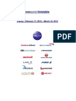One World OneWorld TimeTable Time Table Schedule - 20120217-20120316 - oneworld 20120217-20120316