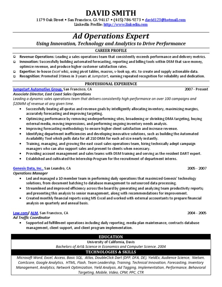 Ad Operations Sample Resume from Freedom Resumes | Analytics | Advertising