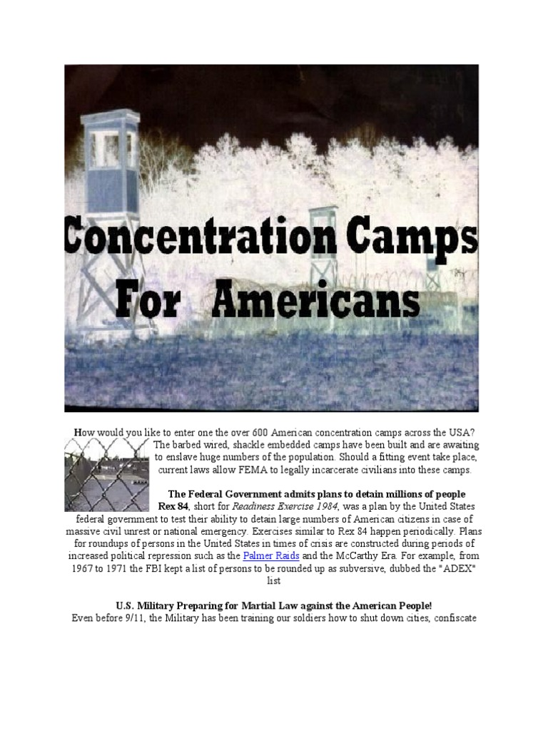 Concentration Camps for Americans | Emergency Management | Federal