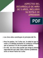 ASPECTOS DEL DESARROLLO DE NIÑO DE 5 AÑOS