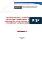 Informe Final_consultoria Actualizacion y Sincronizacion de Catalogos Sismed Siga