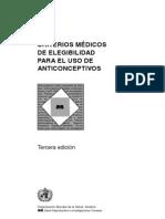 Criterios de Elegibilidad OMS - 2005