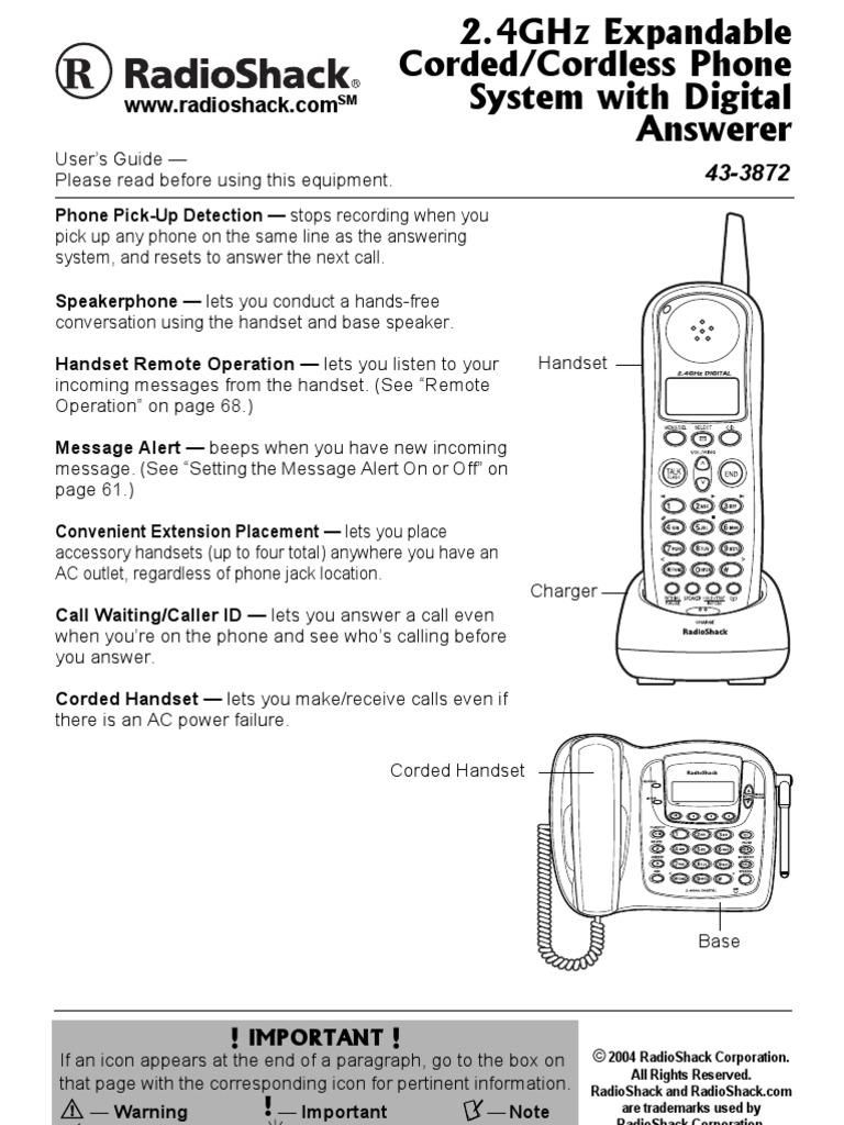 radio shack 2 4 ghz corded cordless phone manual model 43 3872 rh scribd com Panasonic 2.4Ghz Cordless Phone GE Phone 27851Ge1 Cordless 2.4Ghz